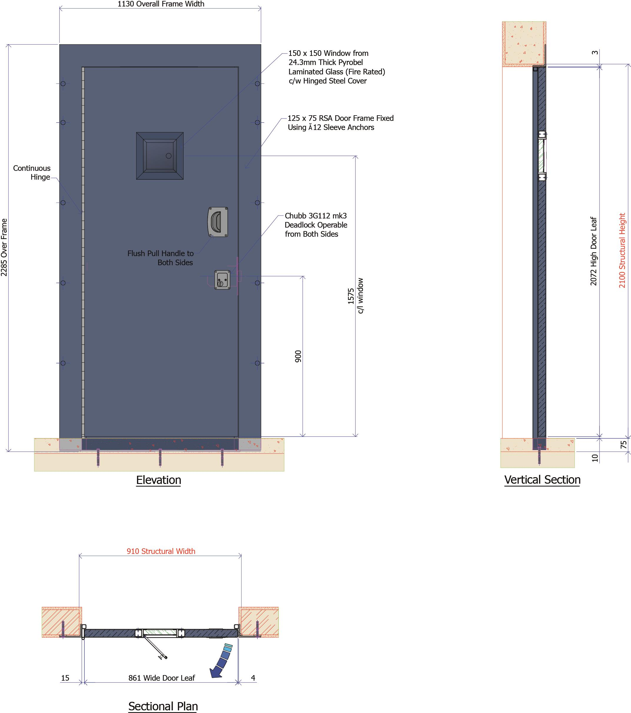 9D017B - Steel Fire Door 60 min Integrity