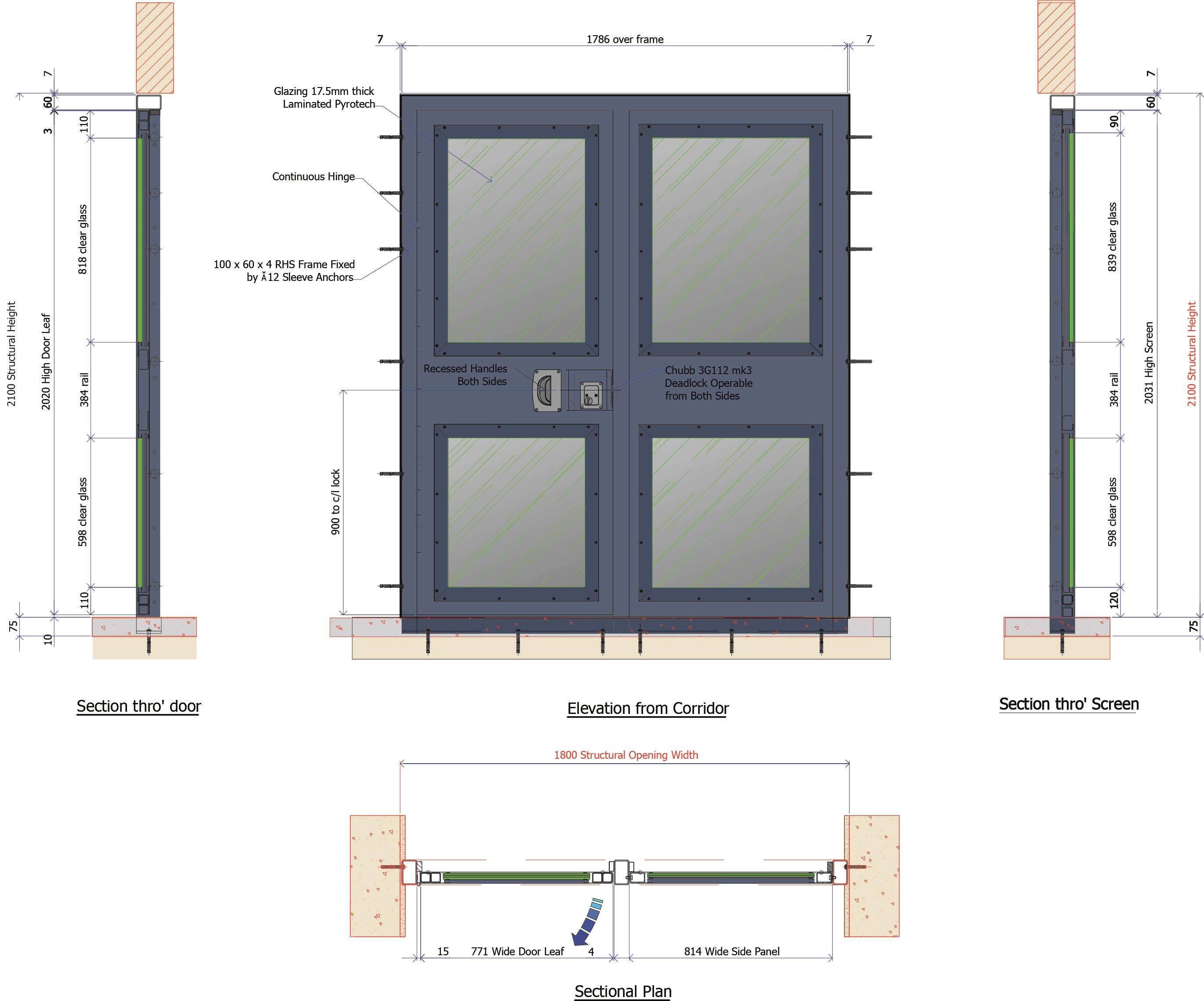 9D017C - Fully Glazed Corridor Fire Door 60 min Integrity
