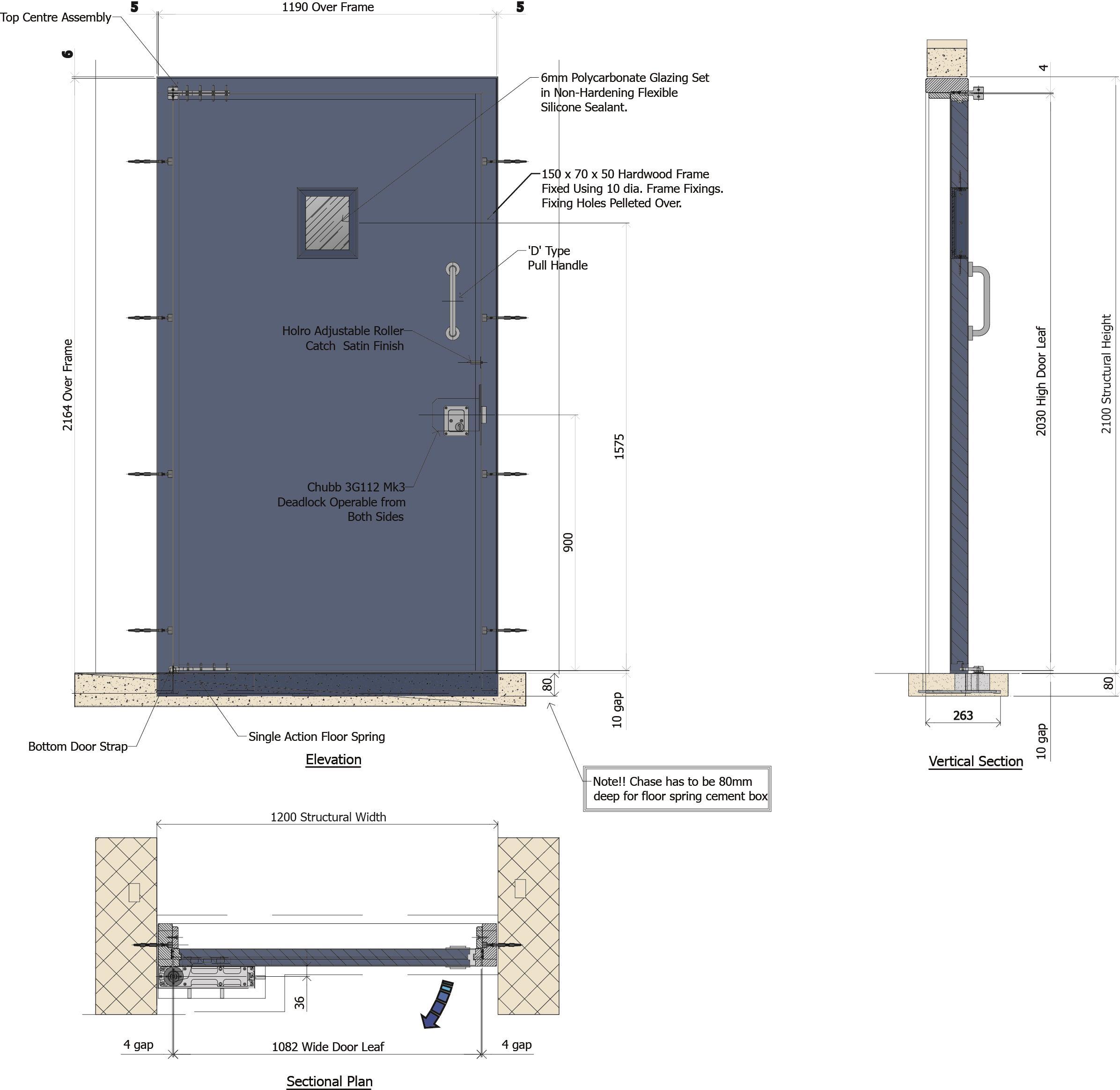 9D019 - Armaglaze Single Action Door