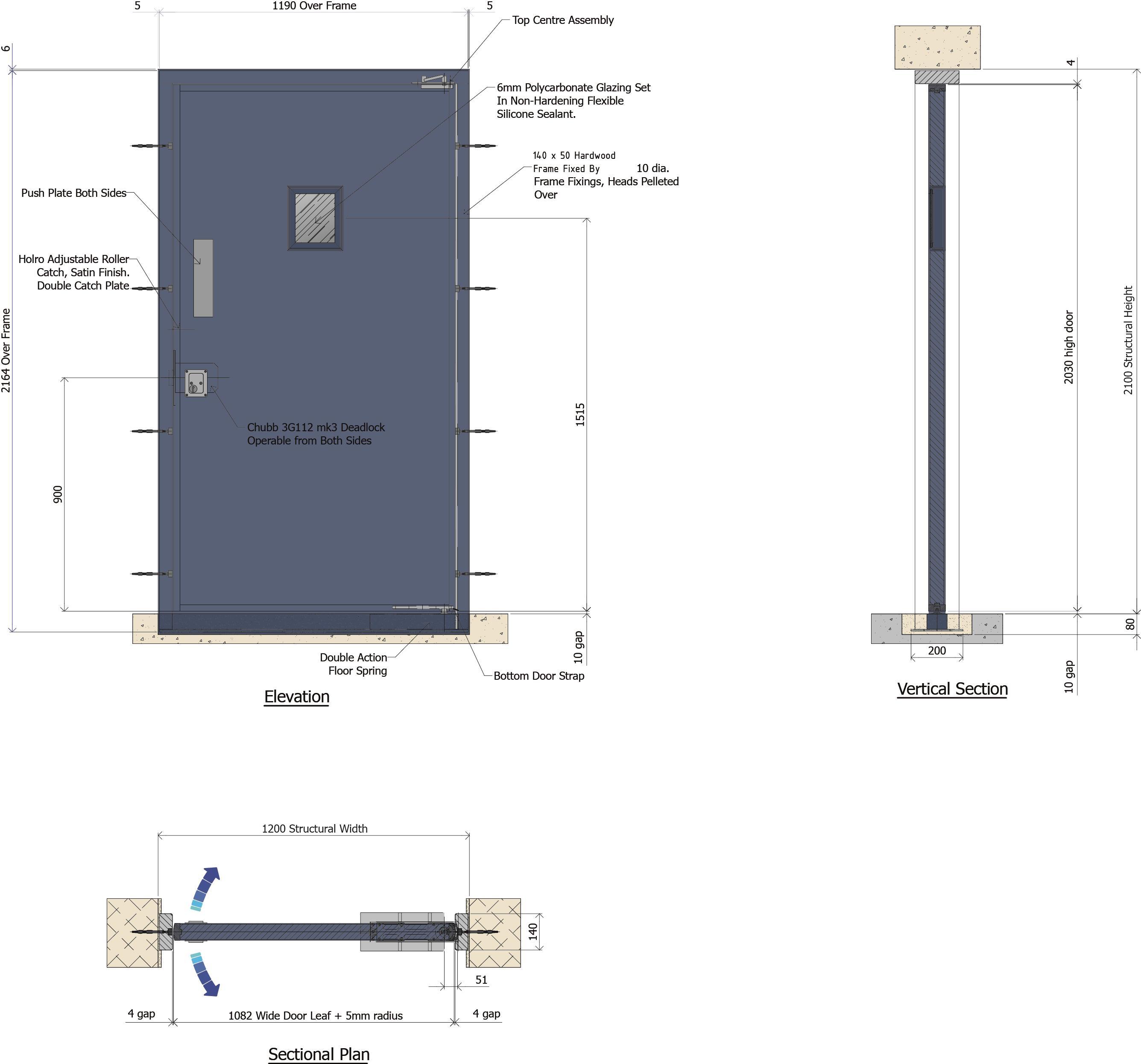 9D020 - Armaglaze Double Action Door