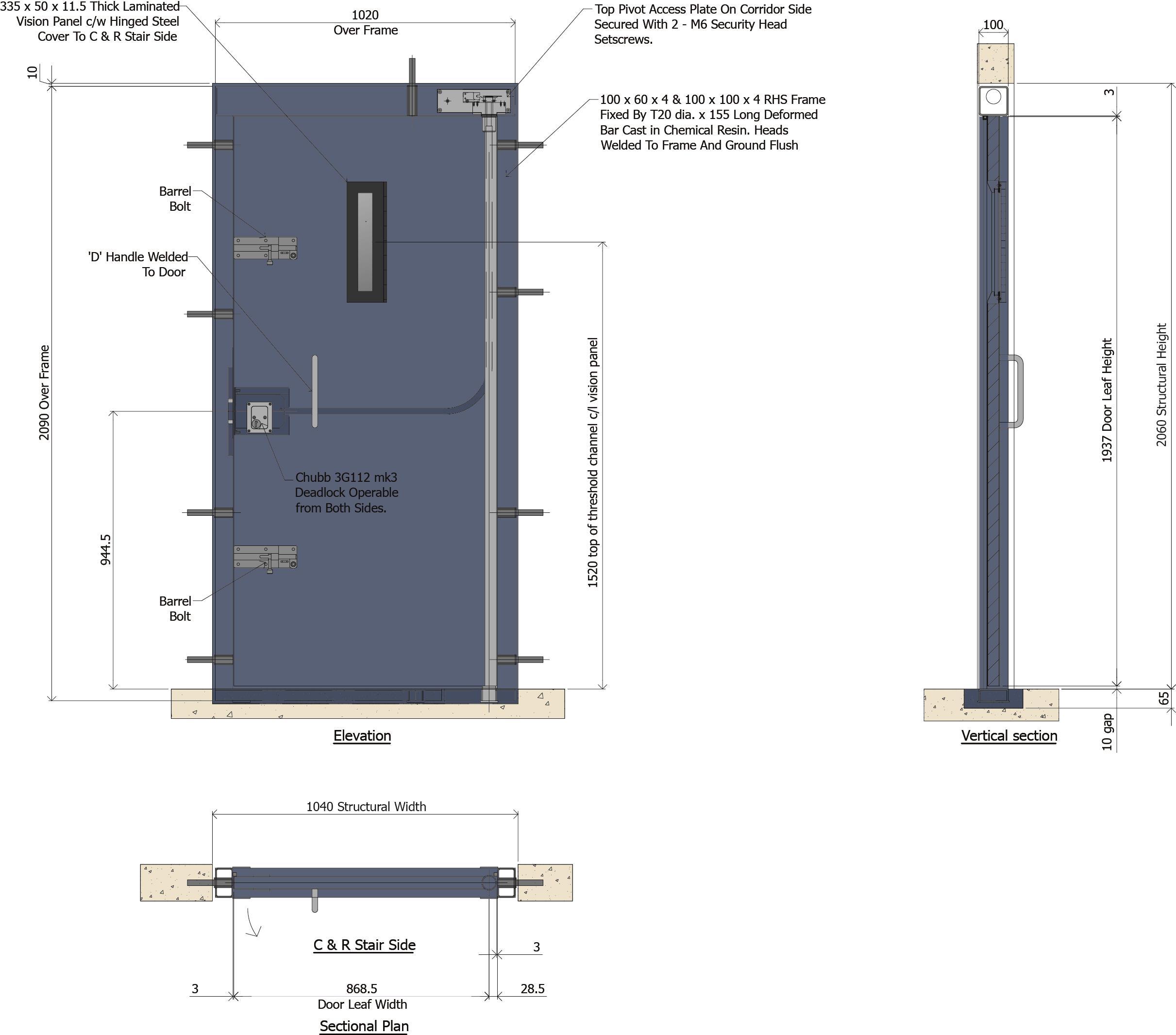 9D023 - Prison Control & Restraint (C&R) Door