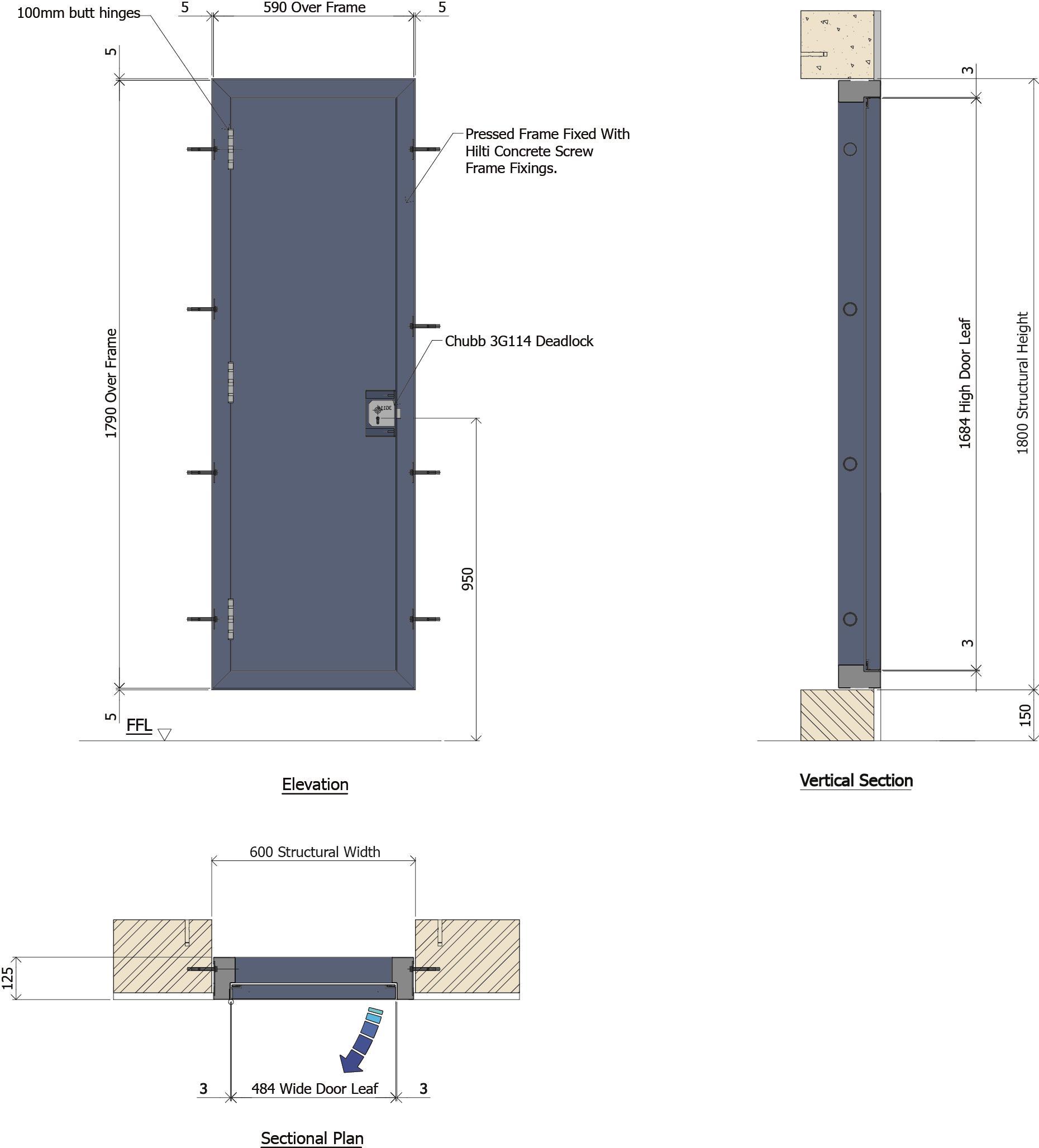 9D026B - Steel Service Duct Door