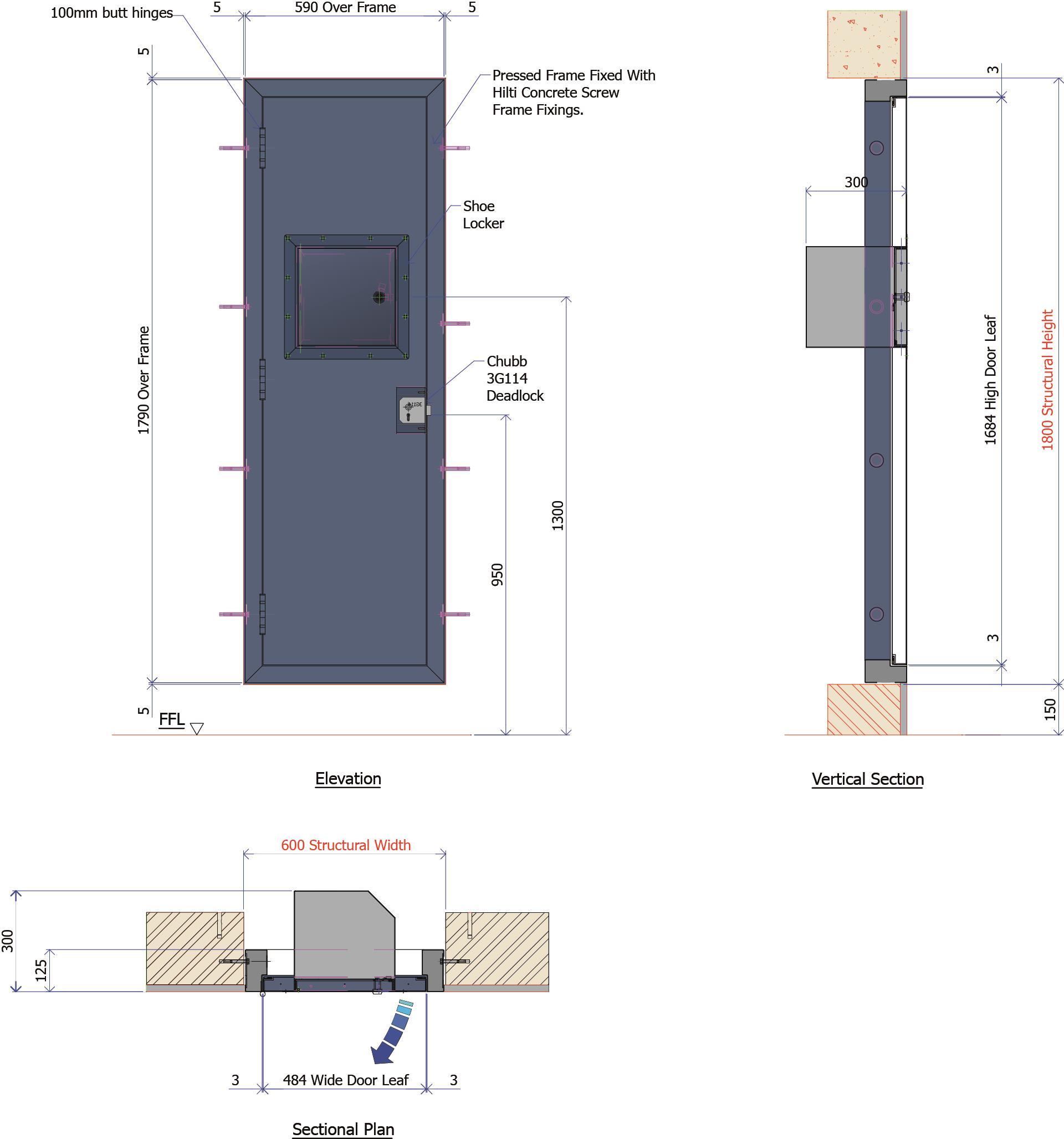 9D026C - Steel Service Duct Door with Integral Shoe Locker