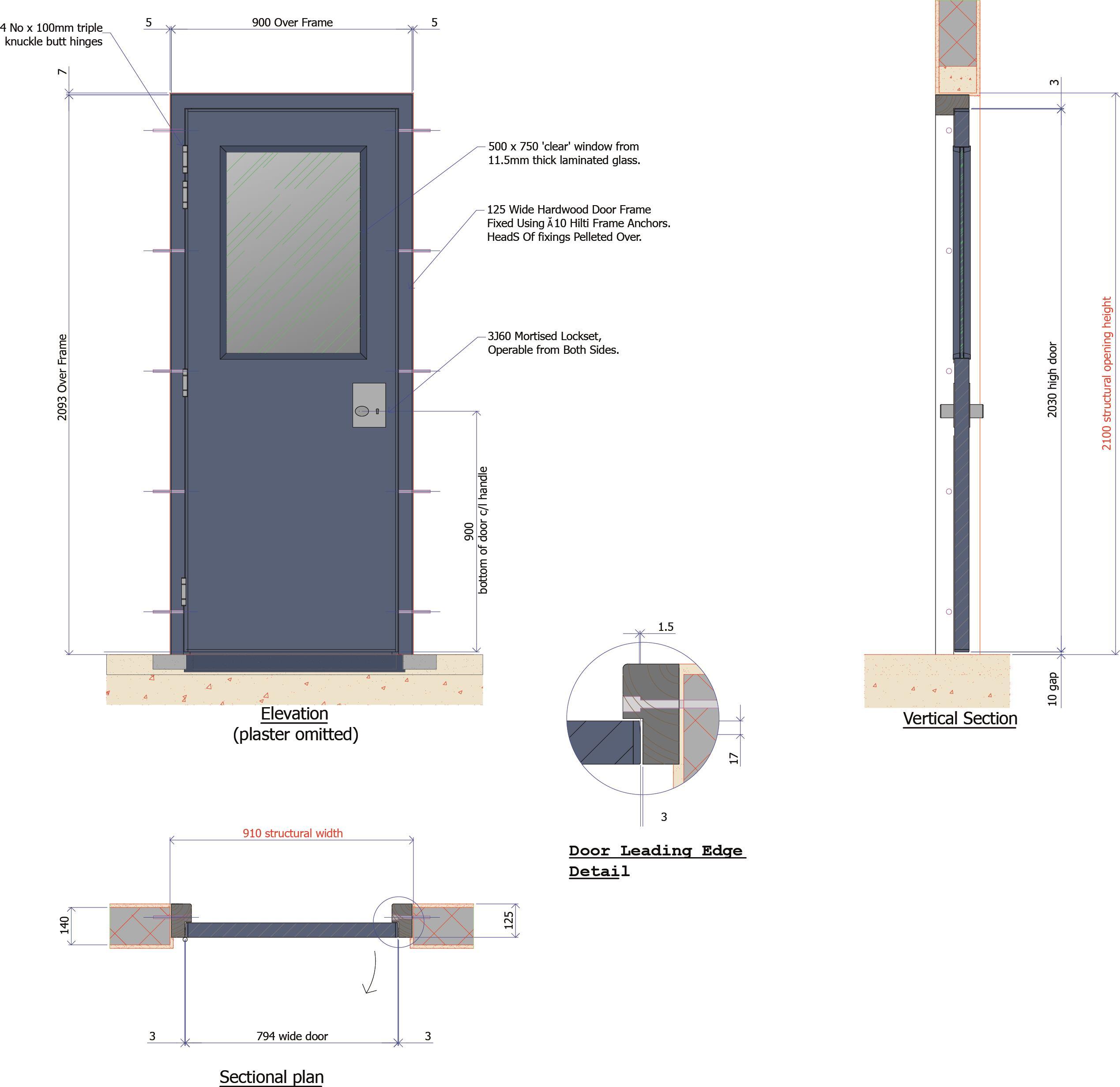 9D027B - Half Glazed Timber Personnel Door